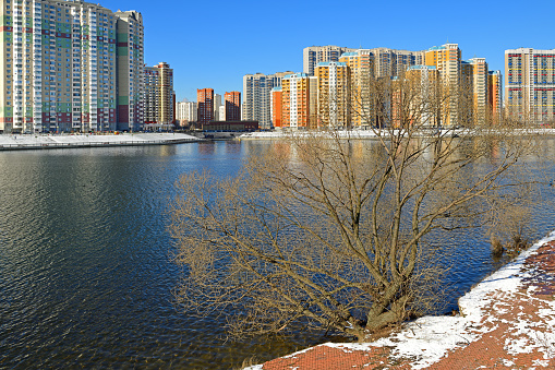 Banks of Moscow river in early spring