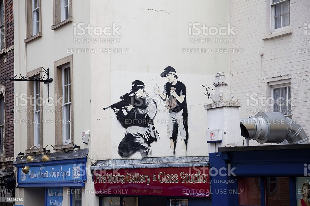Banksy graffiti in central Bristol stock photo