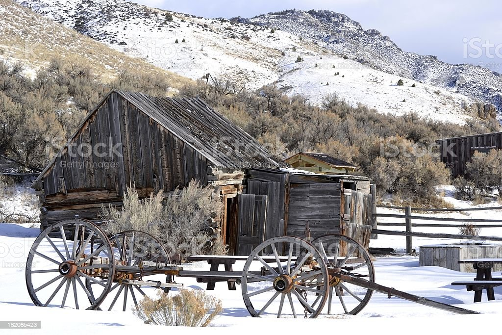 Bannack in the snow. royalty-free stock photo
