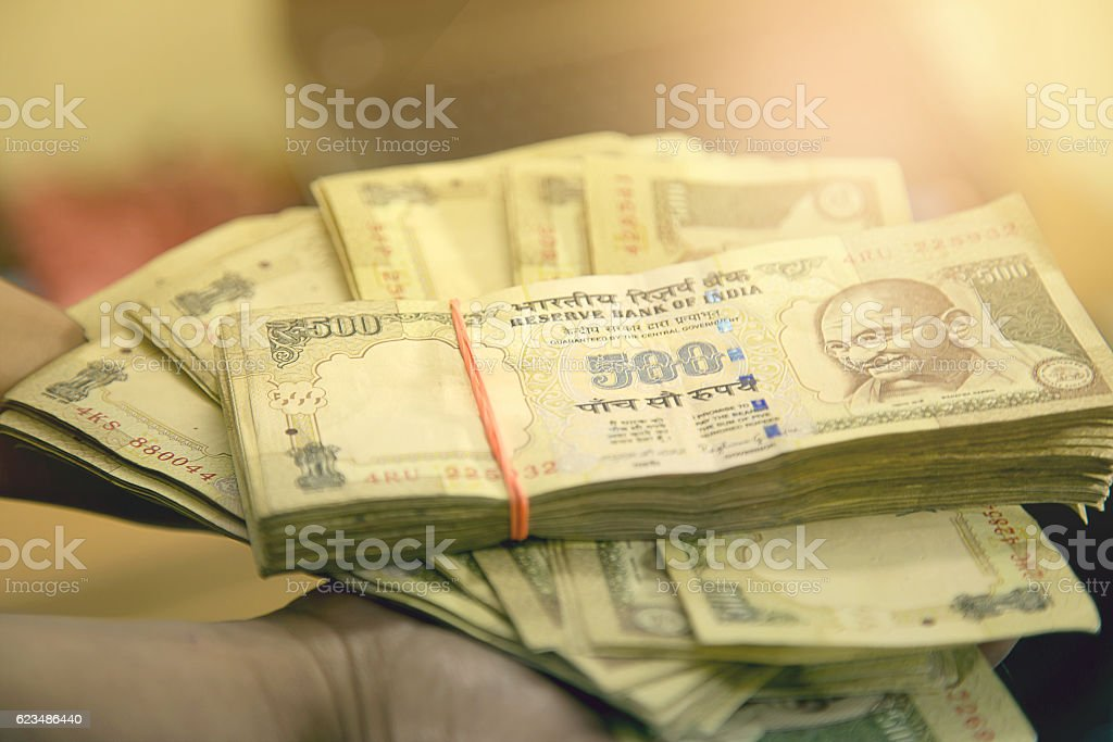 Banned Rs 500 and Rs 1000 notes, Indian currency. stock photo