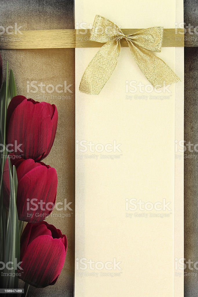Banner and tulips on vintage background royalty-free stock photo