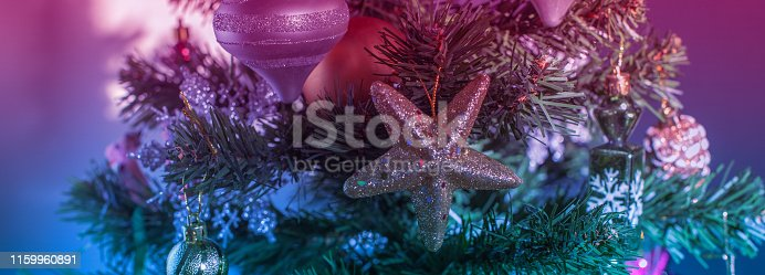 865140324 istock photo Banner Christmas tree festive background. Xmas decor toy balls snowflake cone sequins star snowflake. 1159960891