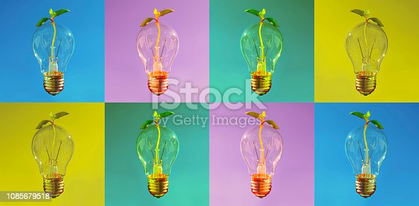 istock Banner, Fresh idea for healthy and sustainable development. Shiny Lightbulb with small plant coming through. 1085679518