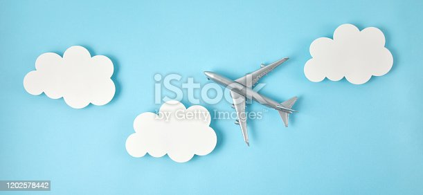 624266324 istock photo Banner of miniature airplane. Travel tourism, airlines, low cost flights concept. Top view, flat lay. 1202578442
