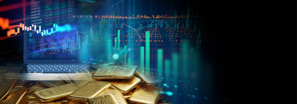 banner of shiny gold bars on financial gold price graph  3d illustration stock photo