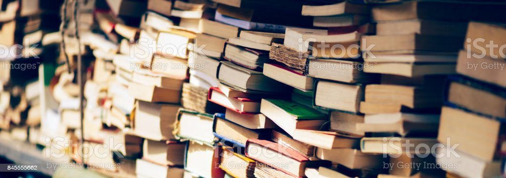 Banner of Stack of books at the bookshop stock photo