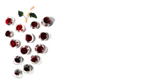 Banner of wine glasses placed forming a bunch of grapes with white background. Announcement with large copy space stock photo