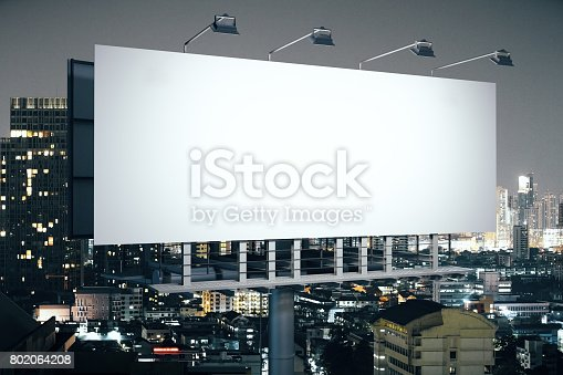 istock Banner on night city background side 802064208