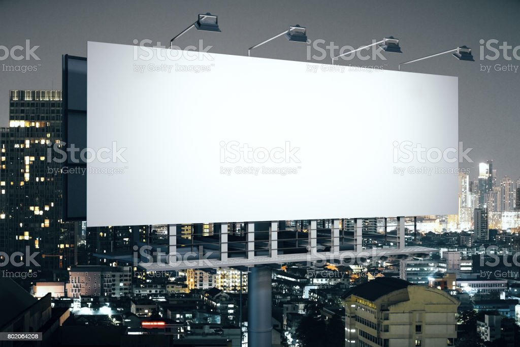 Banner on night city background side stock photo