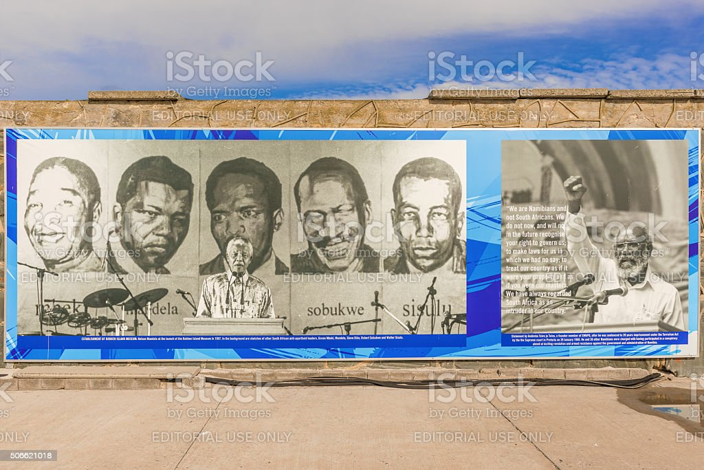 Banner on the wall at the dock at Robben Island stock photo