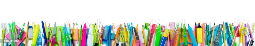 Banner School Supplies isolated On White stock photo