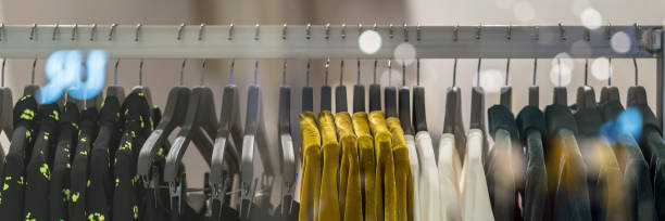 Banner, web page of clothes rack in glasses fashion shop at shopping department store for display