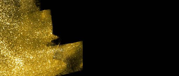 banner mit abstrakten goldschimmerstrichen auf schwarzem hintergrund - kunst 1. klasse stock-fotos und bilder