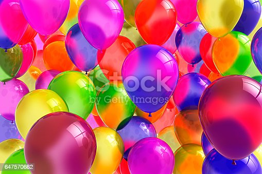 istock Banner with balloons. Bright colors, festive mood 3D. 647570662