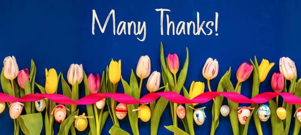 Banner mit bunten Tulpe, Text vielen Dank, Ostereier – Foto