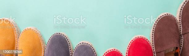 Banner with four pair of espadrilles on mint color background top picture id1200275244?b=1&k=6&m=1200275244&s=612x612&h=3aex opqpetaglfjow1k4xpxnzjs iaouemqkfqa1si=