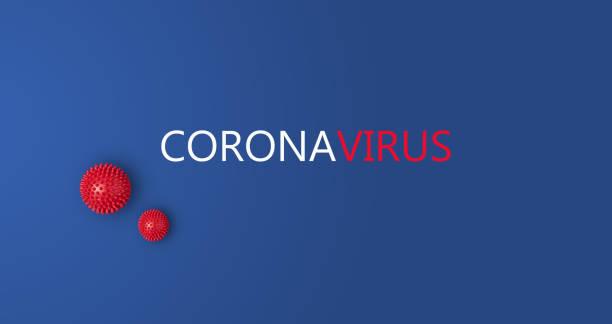 banner with inscription coronavirus on blue background with abstract viral strain model - prevenzione delle malattie foto e immagini stock