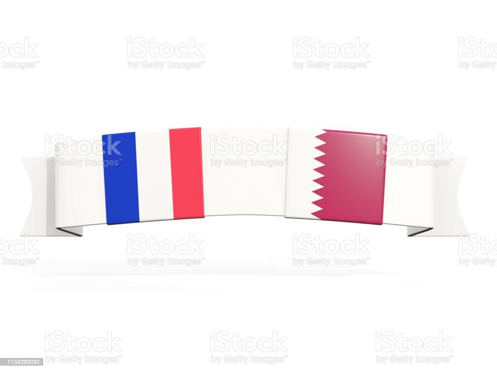 Banner con dos banderas cuadradas de Francia y Qatar - foto de stock