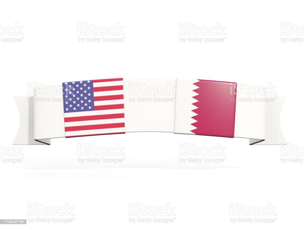 Banner con dos banderas cuadradas de Estados Unidos y Qatar - foto de stock