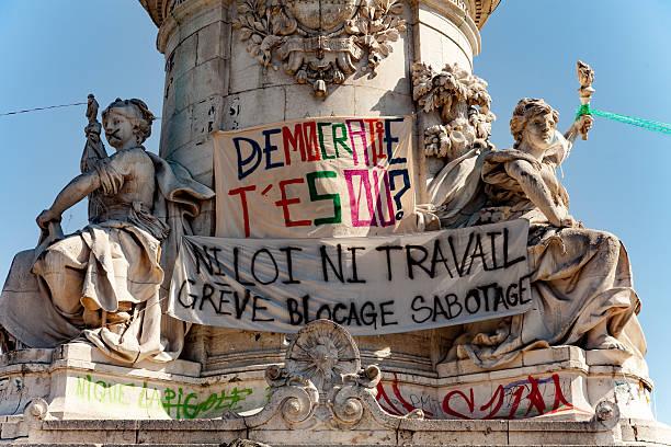 Banners at Place de la Republique stock photo