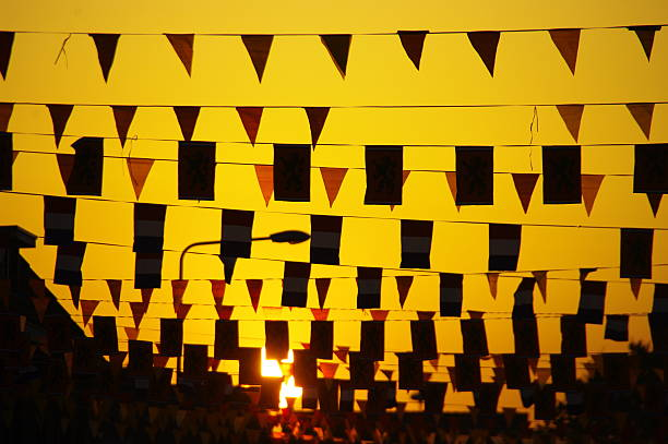 Banners in silhouette stock photo