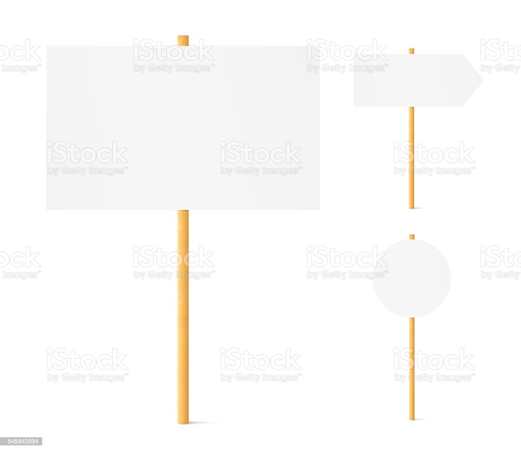 Banners mock up set wooden sticks isolated bildbanksfoto