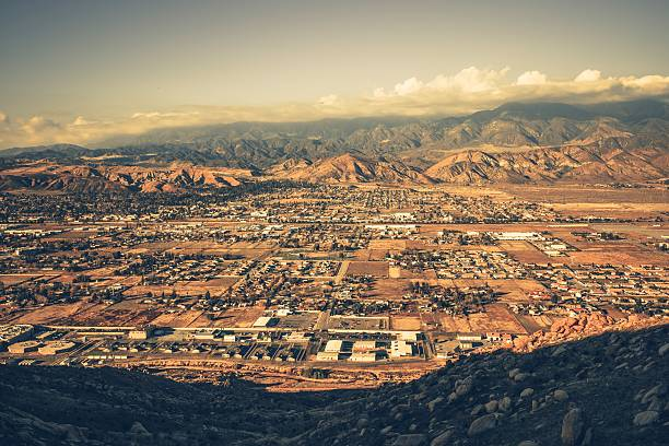 Banning California Panorama Banning California Panorama and San Bernardino Mountains at Sunset. Banning is a City in Riverside County, California, United States san bernardino california stock pictures, royalty-free photos & images
