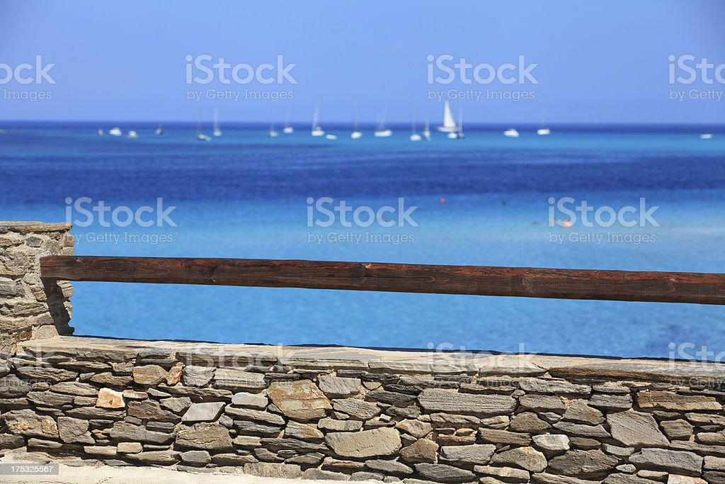 bannister on blue sea royalty-free stock photo
