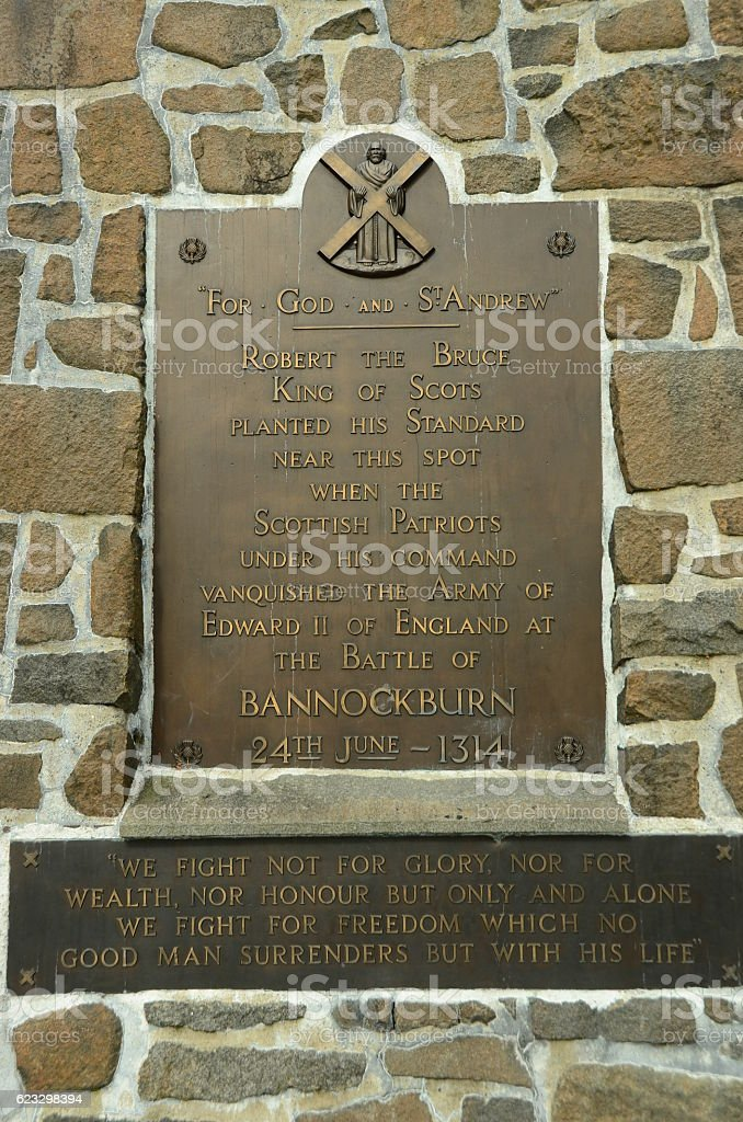 Bannockburn Plaque stock photo