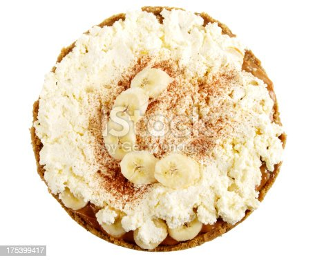 Banoffee pie isolated on white.