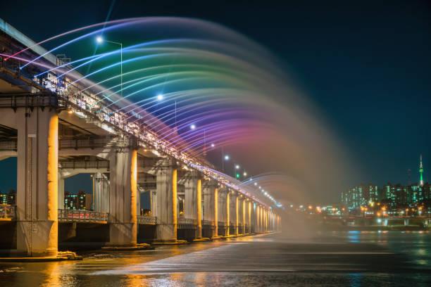 Banpo Bridge Regenbogenbrunnen Seoul Skyline Südkorea – Foto