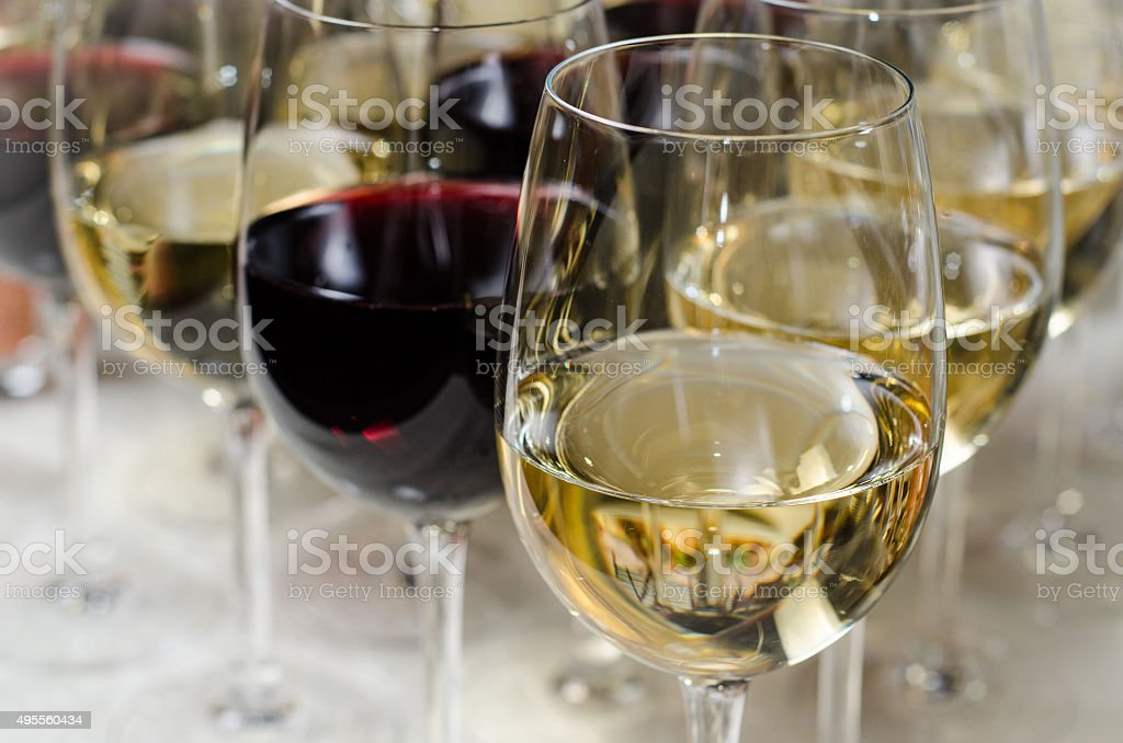 banquet a-la fourchette wine glass set close-up stock photo