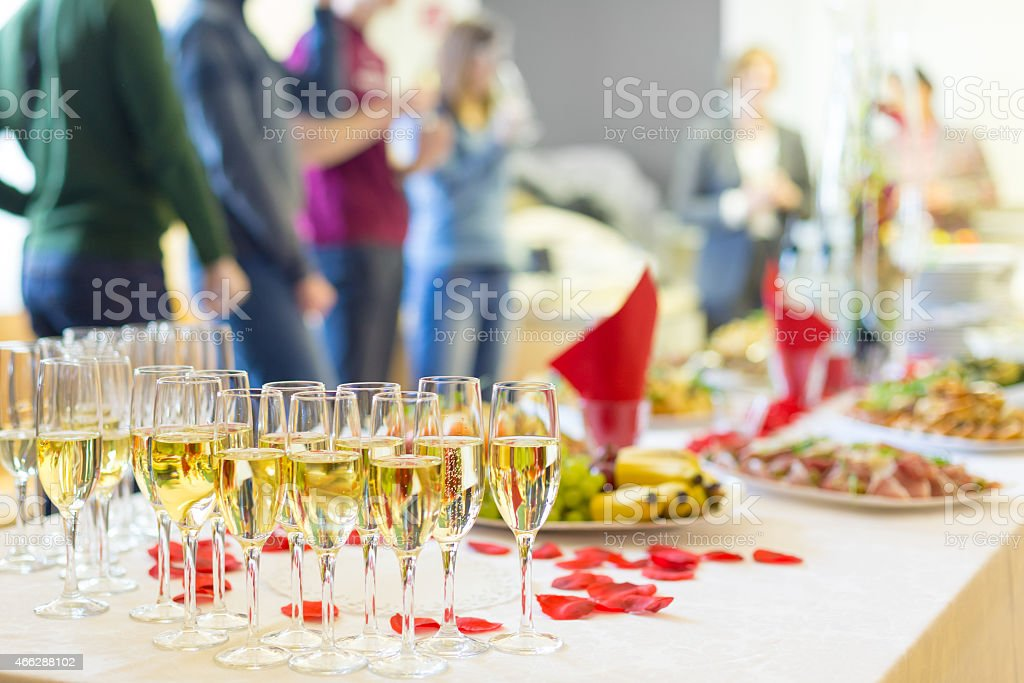 Banquet event. Champagne on table. stock photo