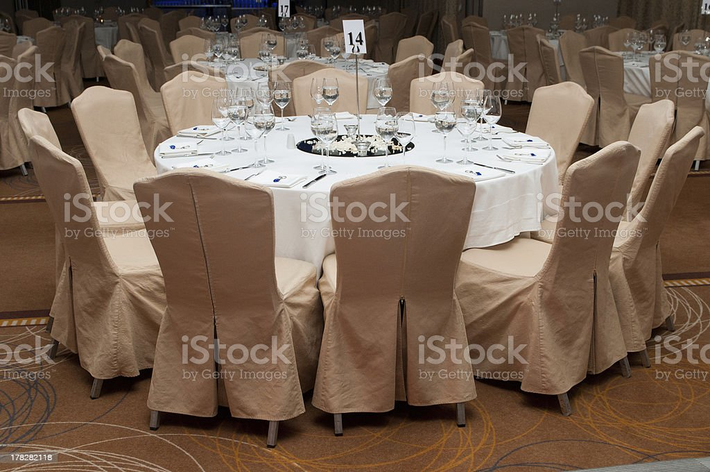 Banquet guest table stock photo