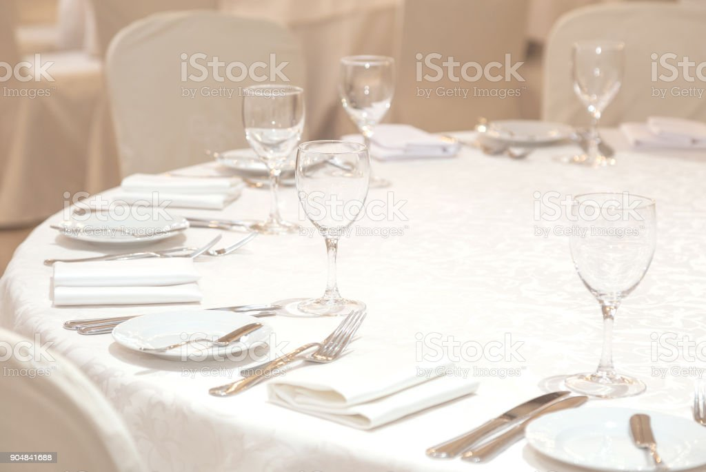 Banquet hall. Beautiful restaurant. Laid table. Table setting....