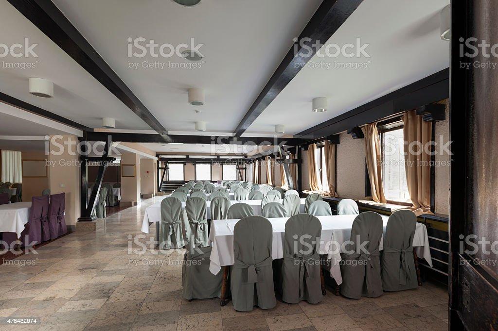 Banquet hall interior stock photo