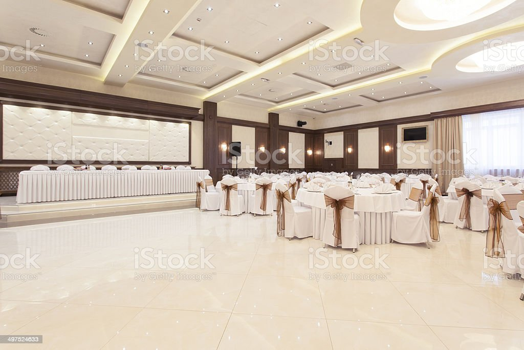 Banquet hall stock photo