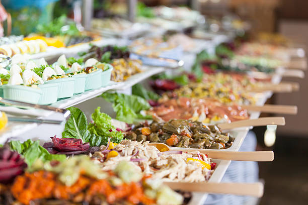 banquet meals served on tables stock photo