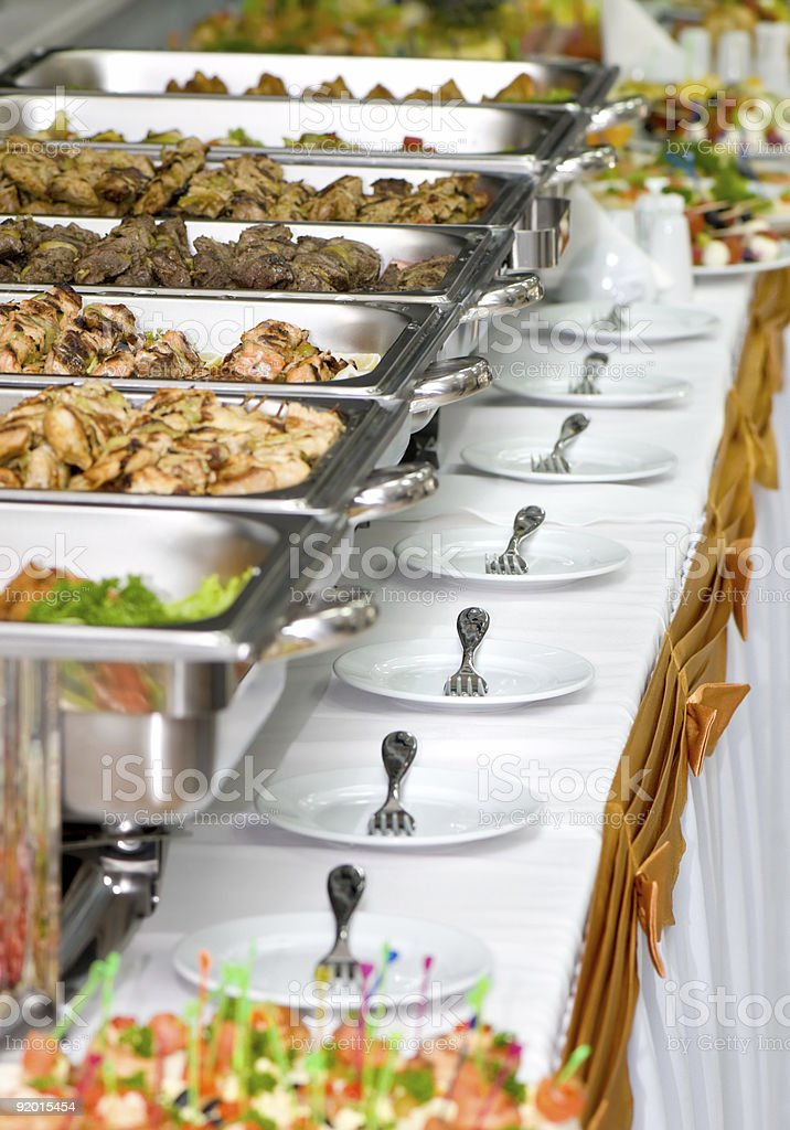 banquet meals served on tables royalty-free stock photo