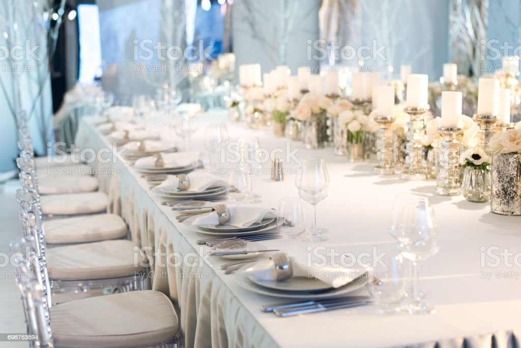 Banquet Table Decor Candles In Vases And Flowers Stock Photo More