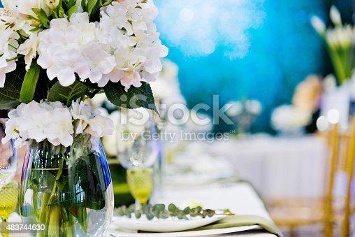 Wedding banquet table setting.