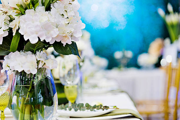 banquet table setting - blue table setting stock photos and pictures