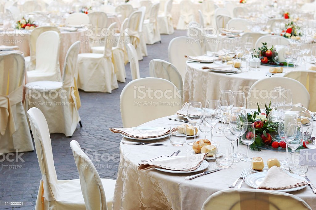 Banquet Table Settings stock photo