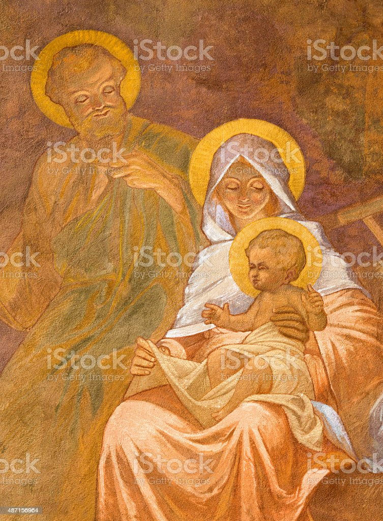 Banska Bela - The fresco of Holy Family stock photo
