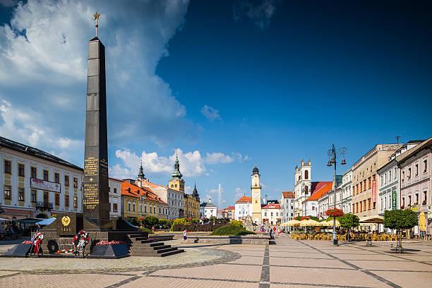 Banska Bystrica, Slovakia. Main Old Square with column – Foto