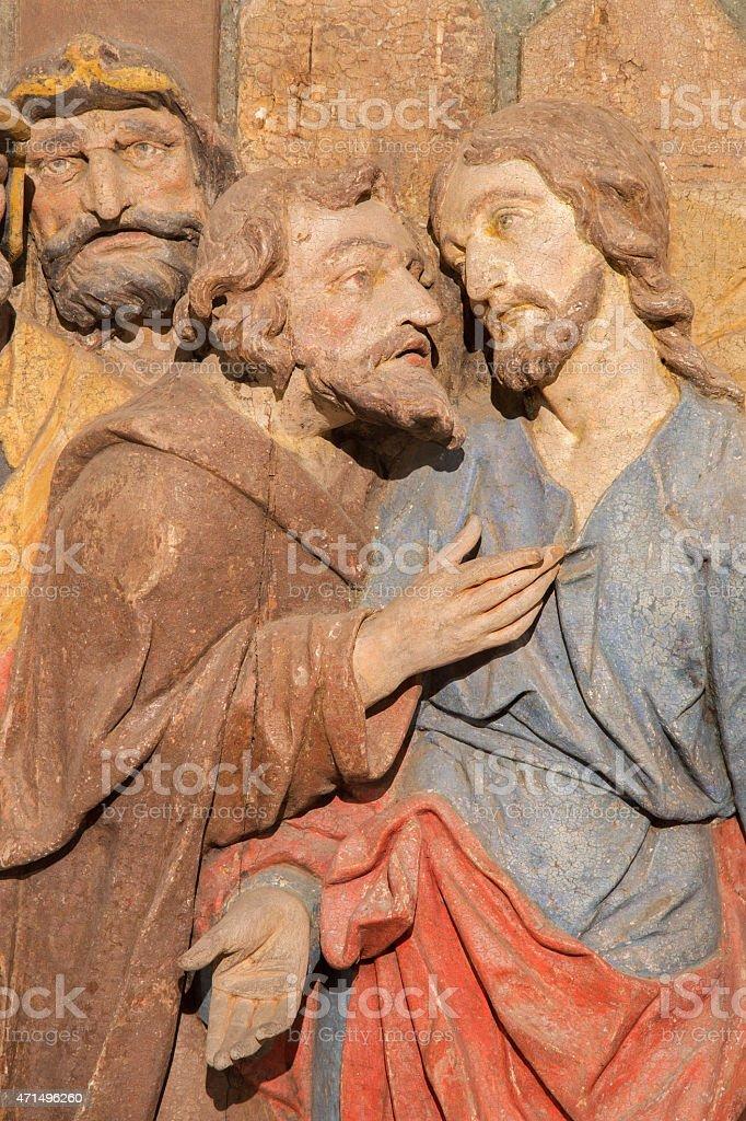 Banska Stiavnica -  carved relief of Judas betrayal stock photo