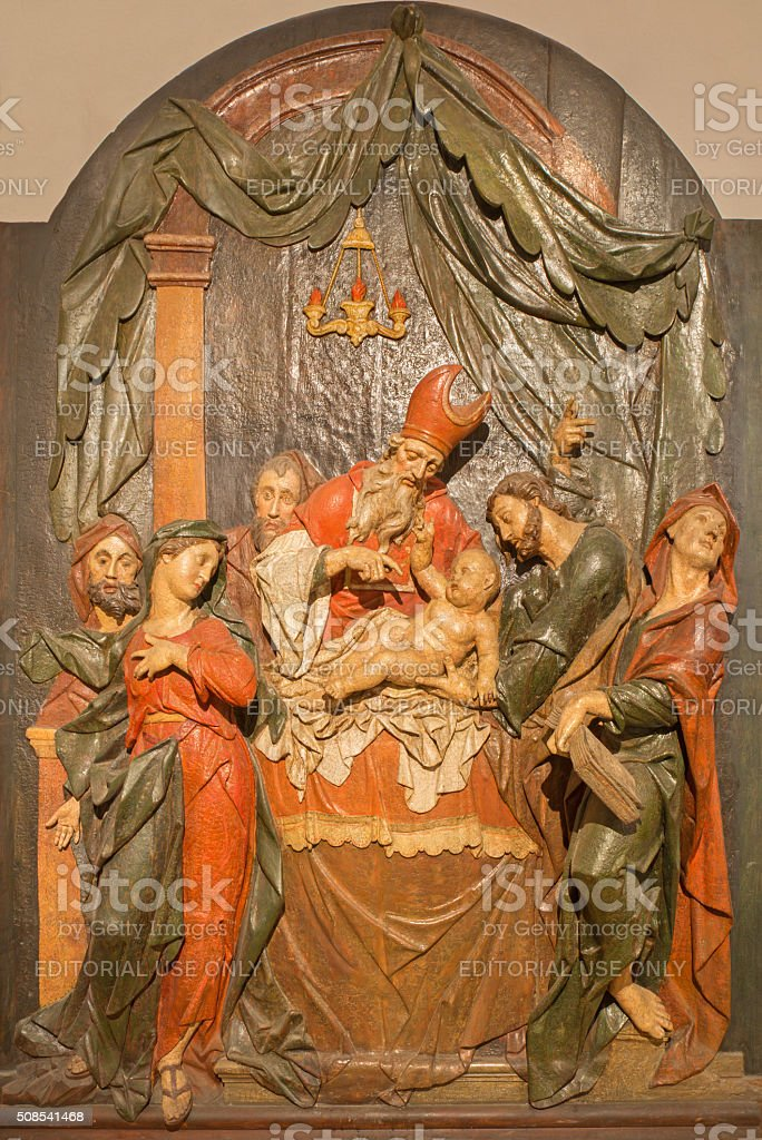 Banska Stiavnica - carved statue of Presentation in the Temple stock photo