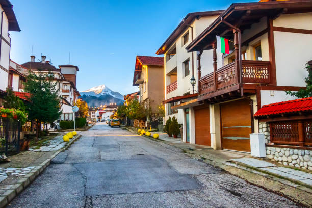 Bansko, Bulgaria autumn street and mountain view stock photo