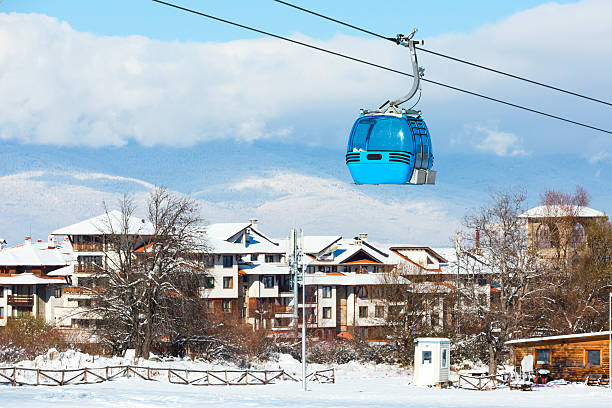 Bansko cable car cabin and houses, Bulgaria stock photo