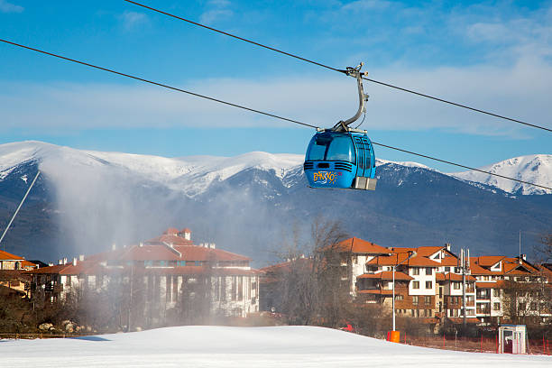 Bansko cable car cabin and snow peaks, Bulgaria stock photo